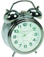 London Clock Company Sweep Movement Twin Bell Luminous Hands Alarm Clock