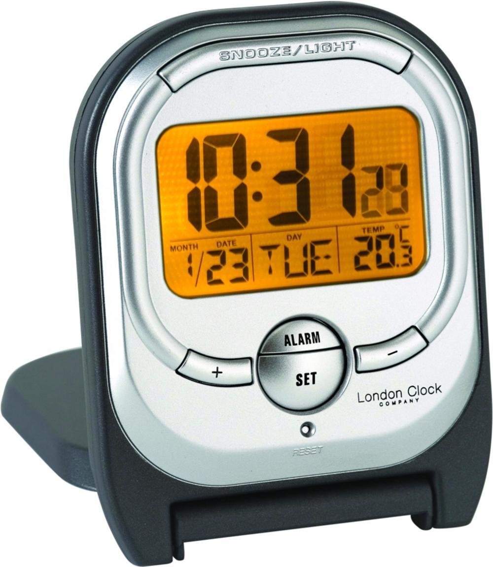 London Clock Company Folding Charcoal Finish Led Backlight Travel Alarm Clock