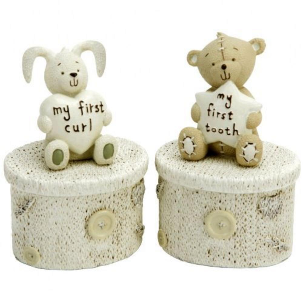 Button Corner Tooth And Curl Rabbit & Bear Trinket Boxes Christening Gift Baby