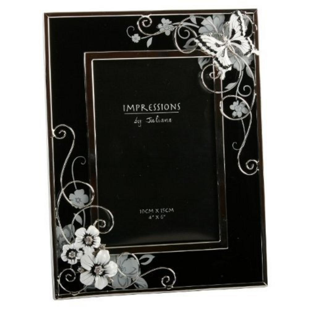 "Juliana Black And Silver Crystal And Butterfly Picture Photo Frame 4"" X 6"""
