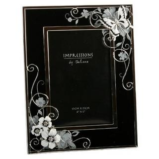 "Juliana Black And Silver Crystal And Butterfly Picture Photo Frame 4"" X 6"" Thumbnail 1"