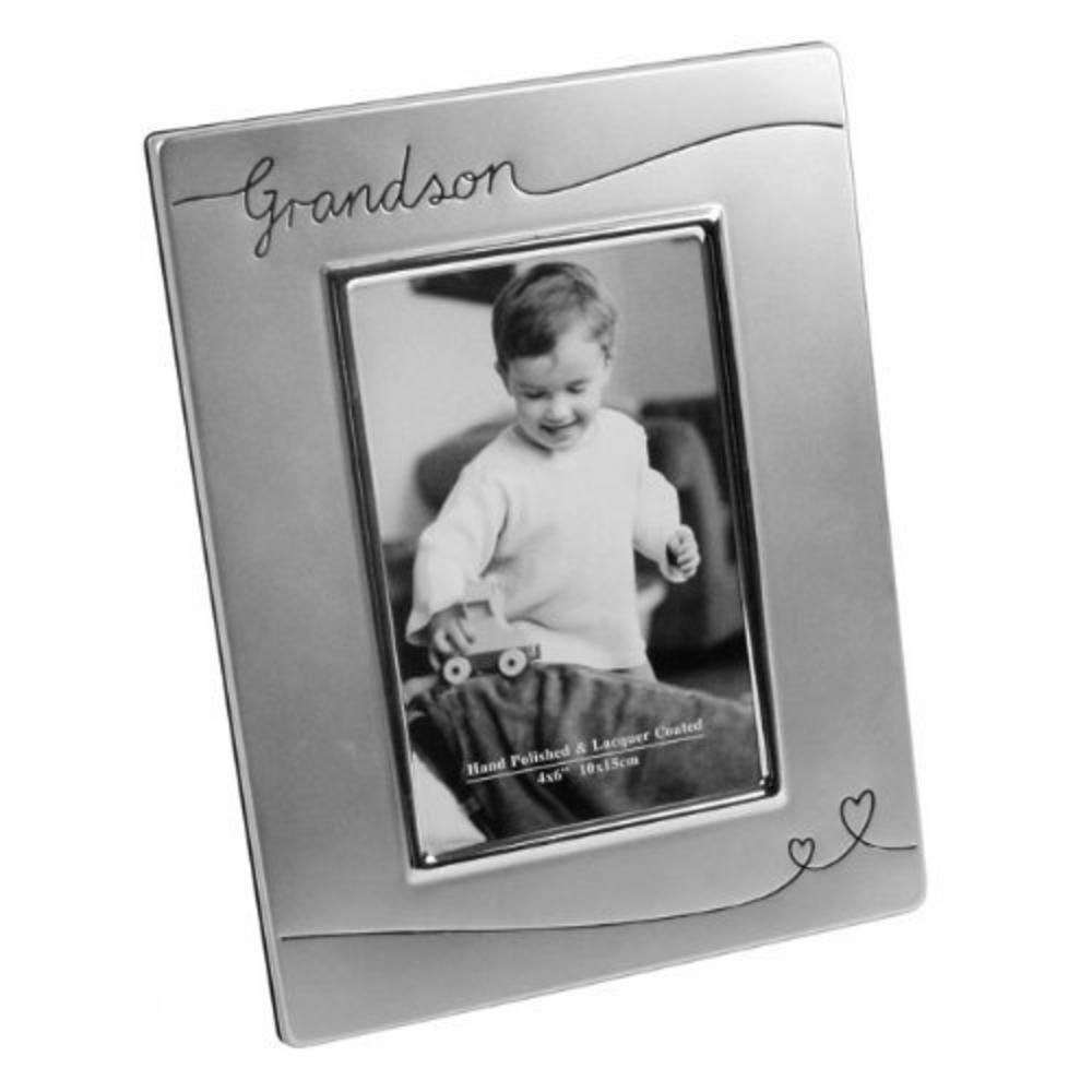 """Juliana Grandson Sentiment Silver Plated Picture Photo Frame 6"""" X 4"""""""