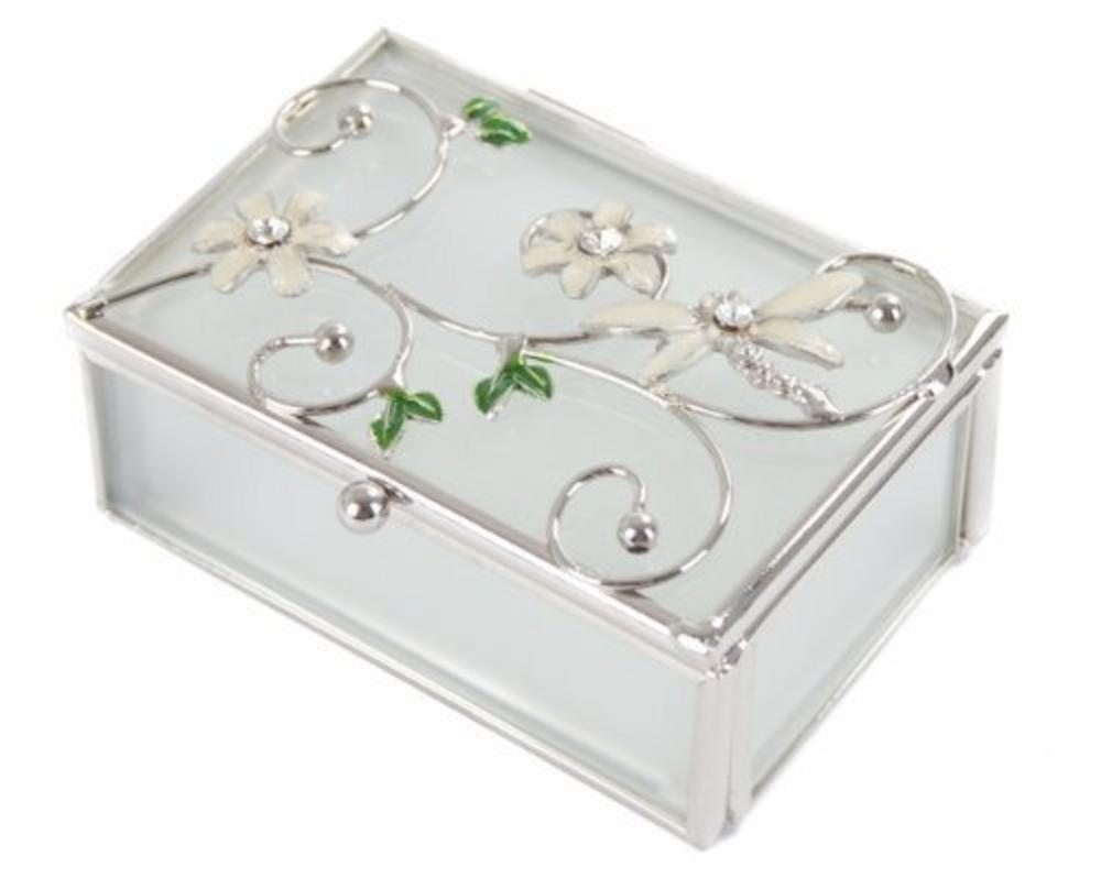 Juliana Glass & Wire Ivory Dragonfly & Flower Trinket Decorative Box
