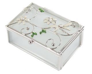 Juliana Glass & Wire Ivory Dragonfly & Flower Trinket Decorative Box Thumbnail 1