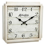 HOMETIME AGED CREAM SHABBY CHIC SQUARE WALL CLOCK IN CLASSIC FRENCH STYLING