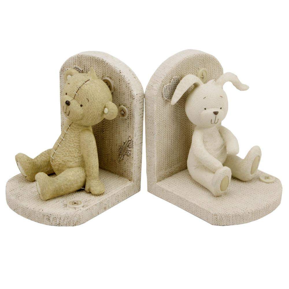 Button Corner Resin Bear And Rabbit Bookends Baby Child Nursey Gift