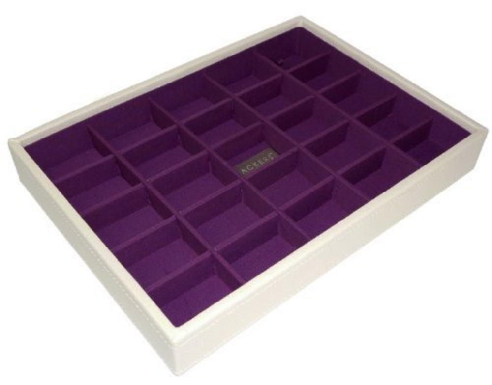 Stackers 25 Tray Medium Sized Cream With New Purple Lining Earrings Mix Match