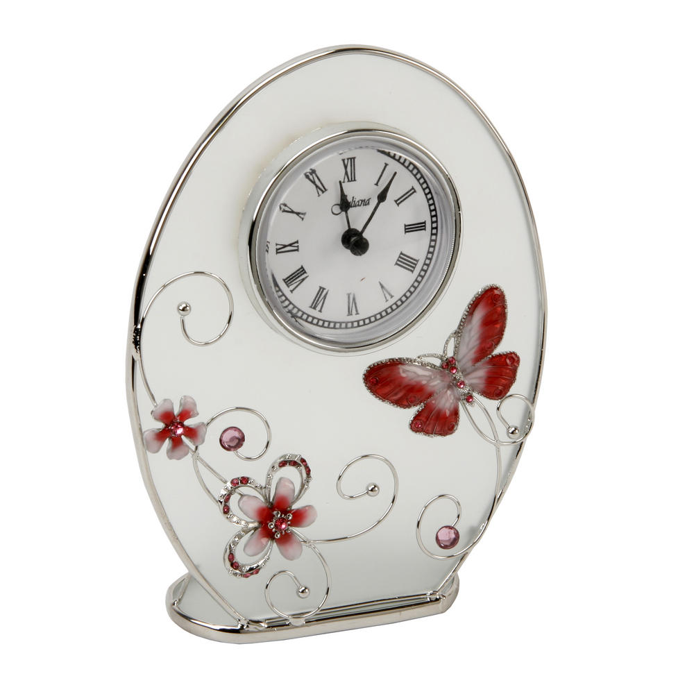 Juliana Glass Oval Mantel Clock Red Butterfly Series W125 X H170 X D45