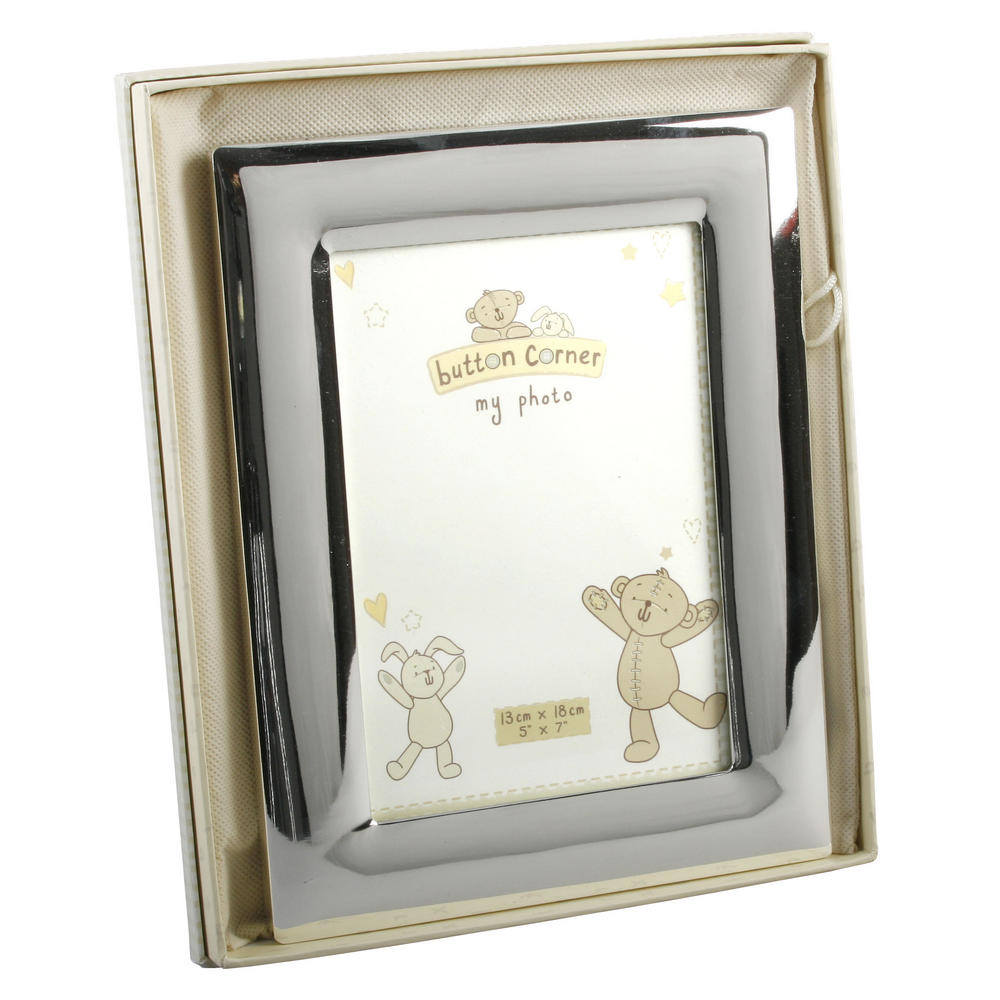 "Button Corner Silverplated 5"" X 7"" Picture Photo Frame Baby Gift"