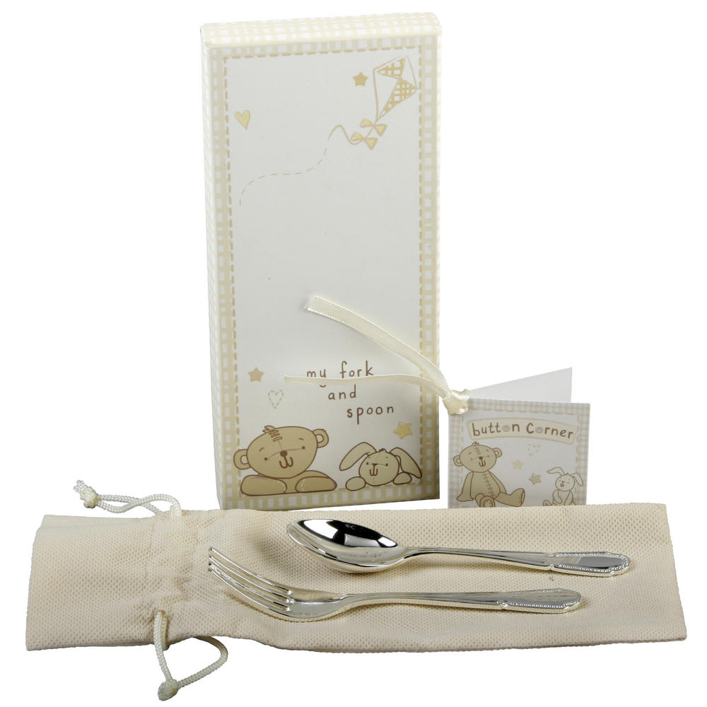 Button Corner Silverplated Fork & Spoon Set With Baby Gift Box Gift