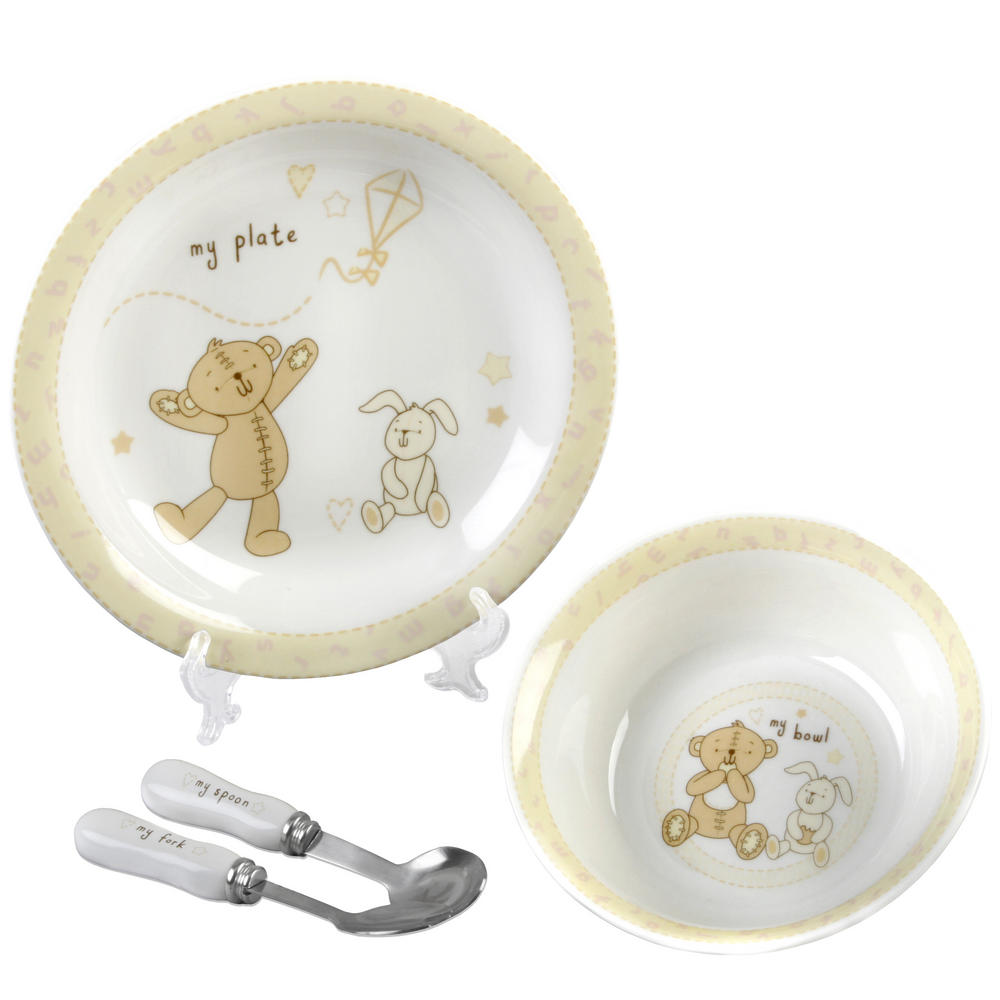 Button Corner Ceramic Baby Meal Food Dining Set - Bowl Plate Fork Spoon Gift