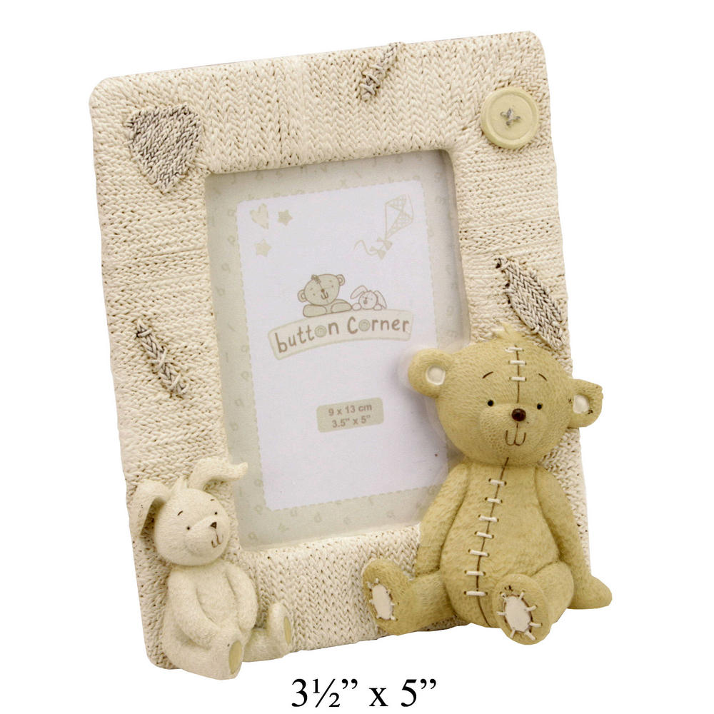 """Button Corner Resin Photo Frame Bear & Rabbit 3.5"""" X 5"""" Baby Gift Picture"""