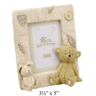 "Button Corner Resin Photo Frame Bear & Rabbit 3.5"" X 5"" Baby Gift Picture Thumbnail 1"