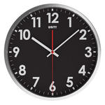 Unity Stratford Silent Sweep Non-Ticking 30Cm Contemporary Black Dial Wall Clock