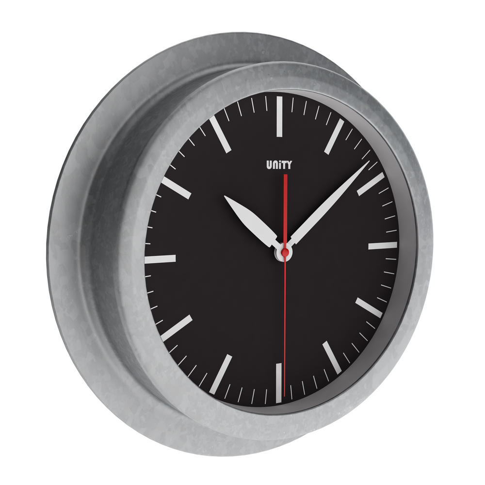 Unity Worlington Silent Sweep Non-Ticking 23Cm Galvanised Urban Black Wall Clock