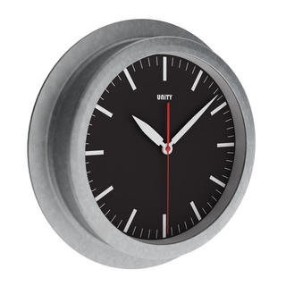 Unity Worlington Silent Sweep Non-Ticking 23Cm Galvanised Urban Black Wall Clock Thumbnail 1