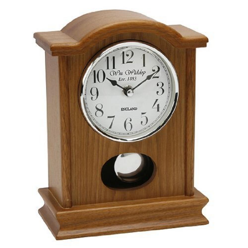 Wm Widdop Oak Finish Glass Modern Arched Top Pendulum Mantel Clock Arabic Dial