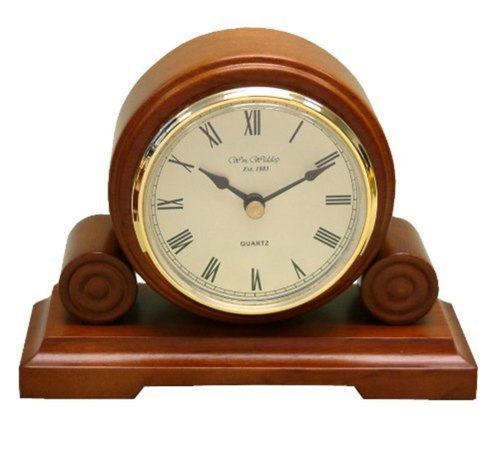 Wm Widdop Round Wooden Traditional Mantel Clock Quartz