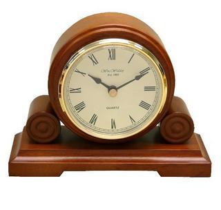 Wm Widdop Round Wooden Traditional Mantel Clock Quartz Thumbnail 1