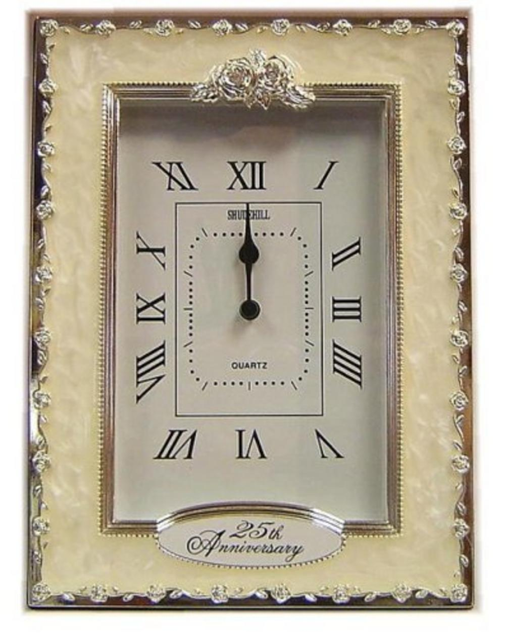 Shudehill Giftware 25Th Silver Wedding Anniversary Celebration Quartz Clock