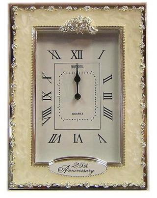 Shudehill Giftware 25Th Silver Wedding Anniversary Celebration Quartz Clock Thumbnail 1