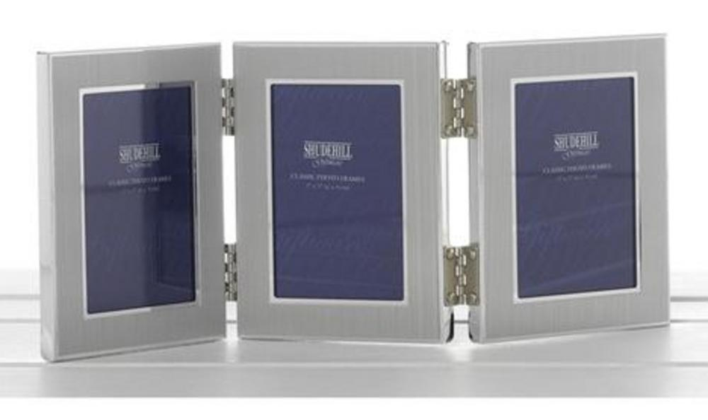"Shudehill Giftware Satin Silver Triple Aperture Picture Photo Frame - 2"" X 3"""