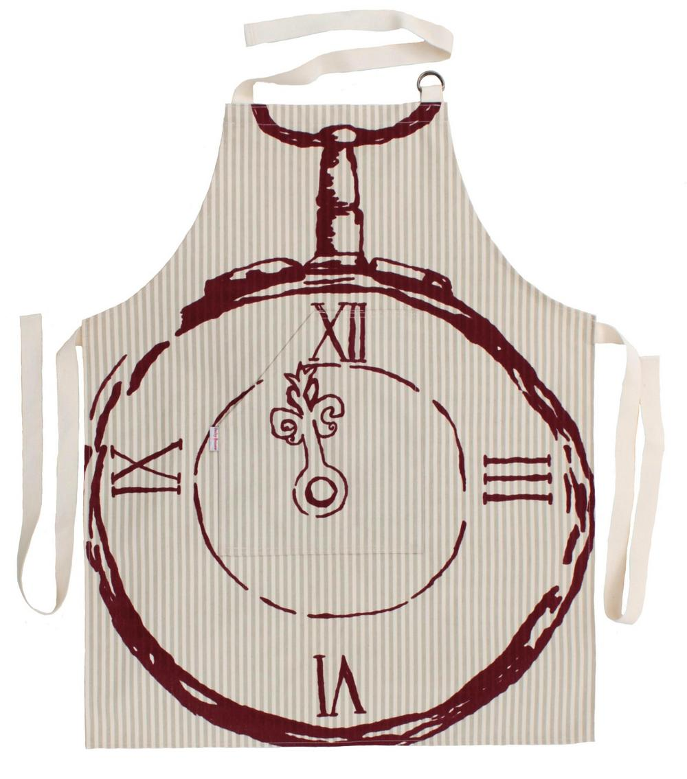 Becky Broome Pocket Watch Apron Beige & Red