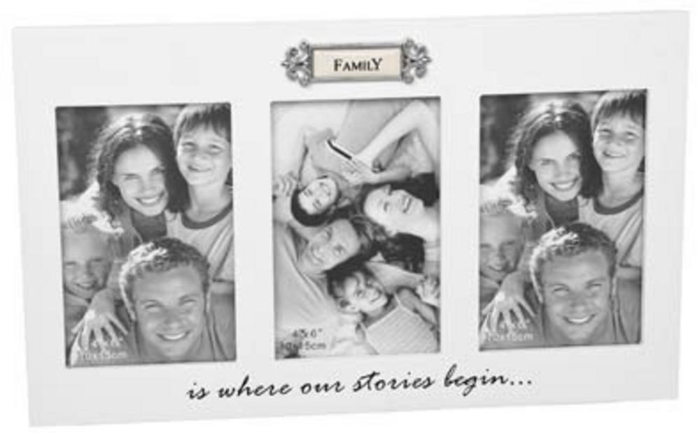 """Loved Ones Family Triple Aperture Picture Photo Frame 6"""" X 4"""""""