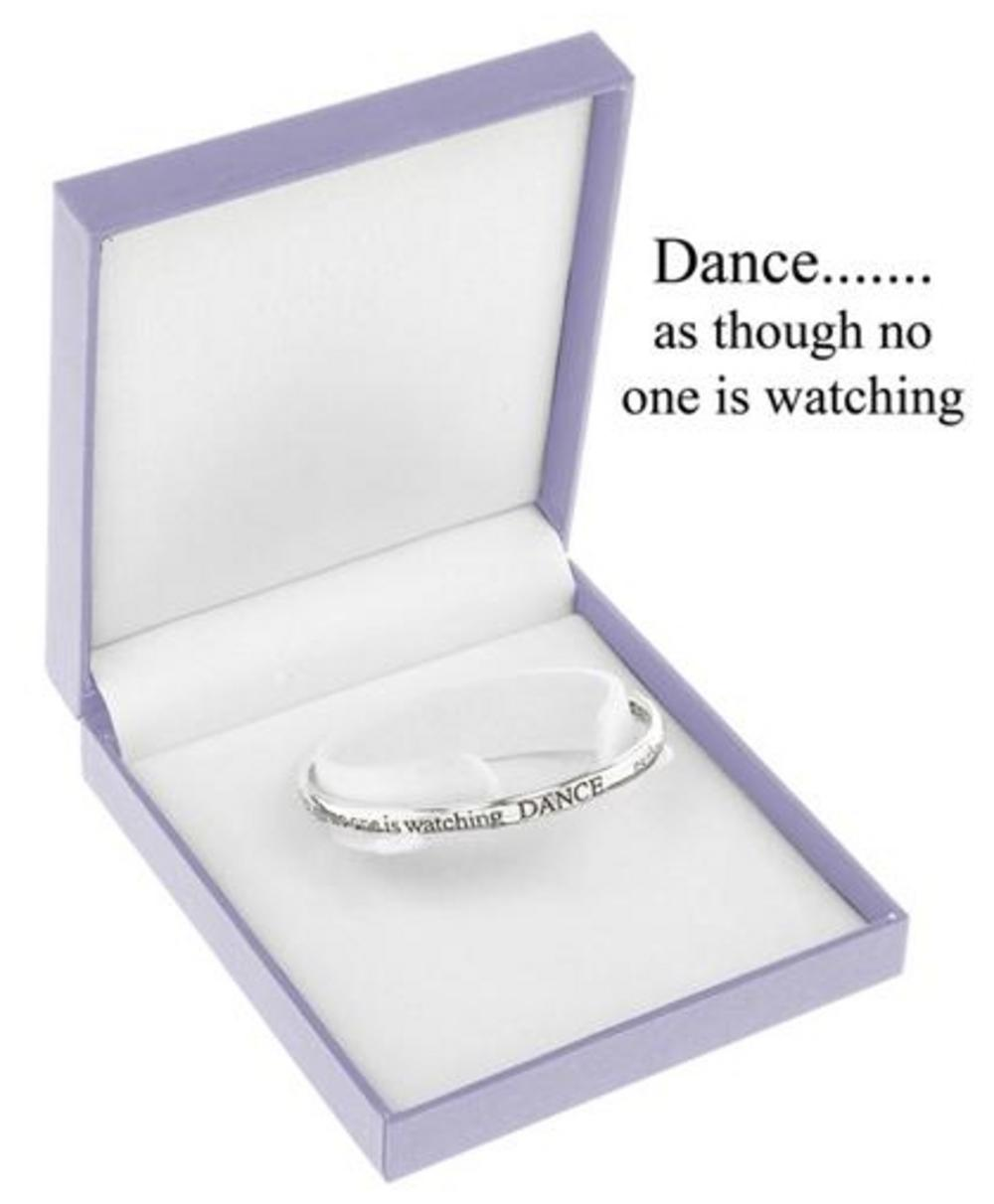 Equililbrium Silver Plated Bangle - Dance As Though No One Is Watching Gift Box