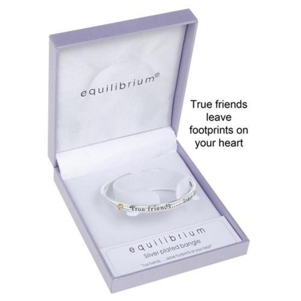 Equilibrium Silver Plated True Friends Leave Footprints On Your Heart Bangle