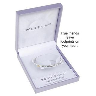 Equilibrium Silver Plated True Friends Leave Footprints On Your Heart Bangle Thumbnail 1