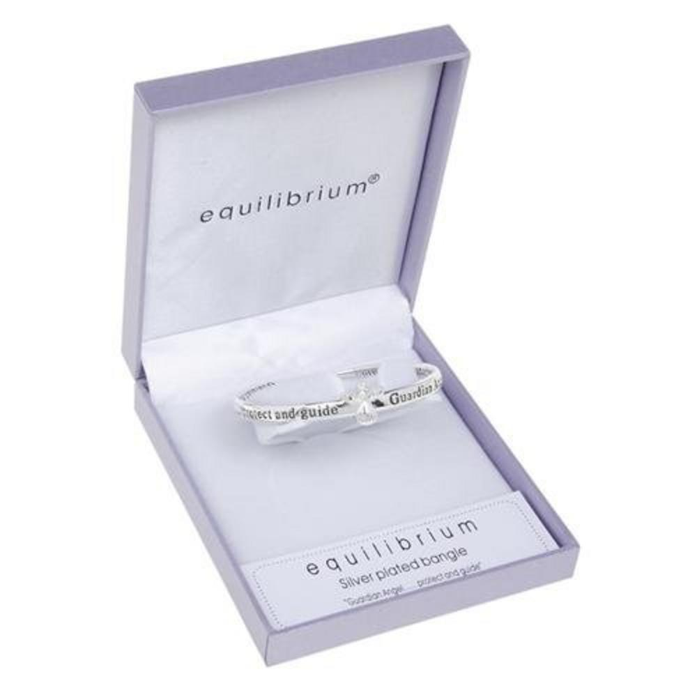 Equilibrium Silver Plated Guardian Angel Protect Bangle Gift Box