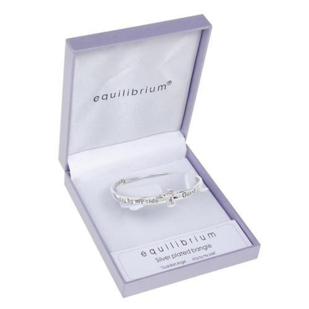 Equilibrium Silver Plated Guardian Angel Stay By My Side Bangle Gift Box