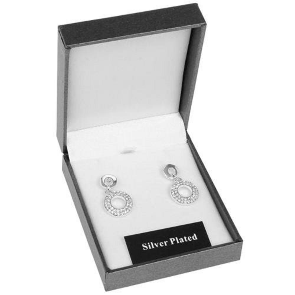 Equilibiurm Silver Plated Diamante Circle Earrings Ladies Gift Boxed