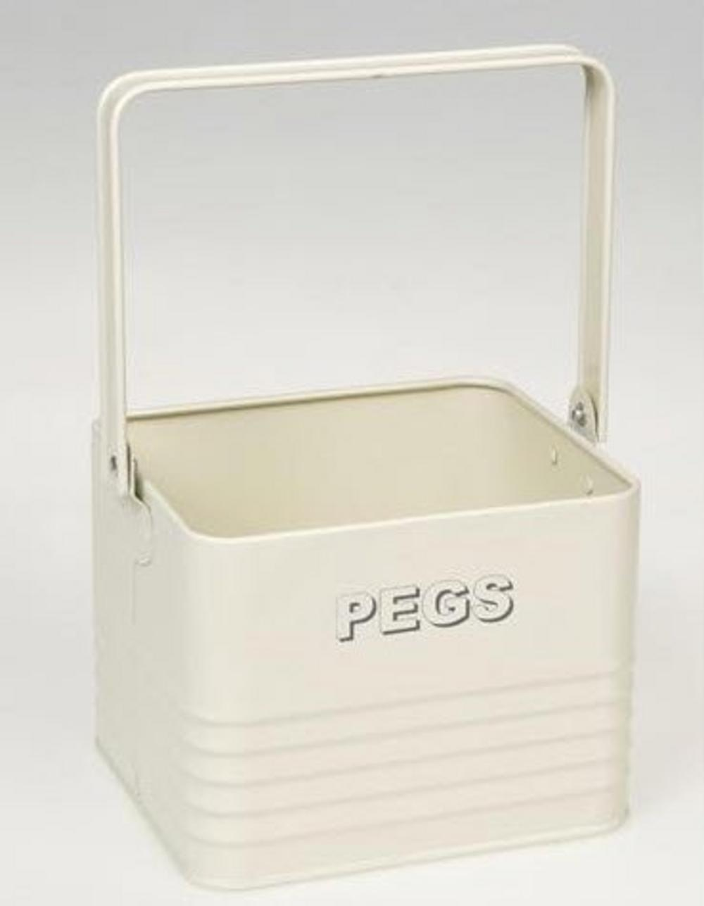 Cream Tin Peg Box