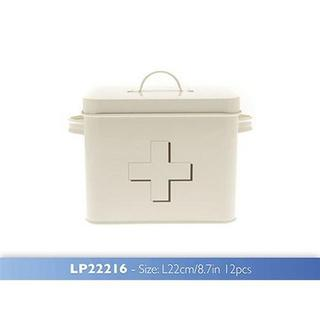 Vintage Retro Shabby Chic Cream Enamel First Aid Tin Storage Box & White Cross Thumbnail 1
