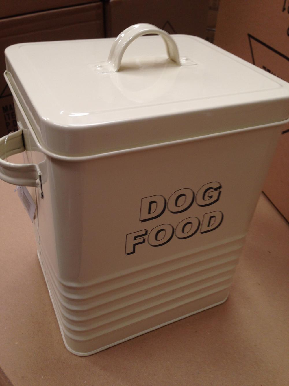Vintage Shabby Chic Cream Dog Food Storage Tin With Scoop Spoon