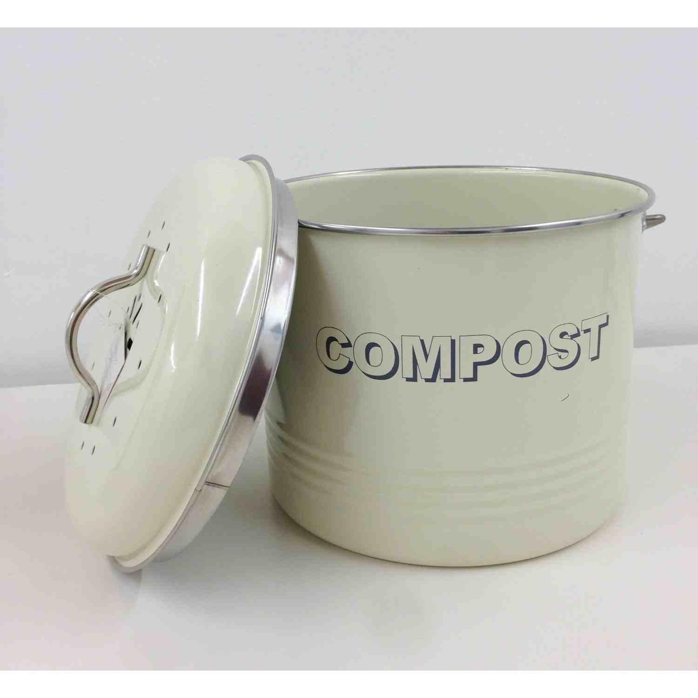vintage optik shabby chic stil metall kÜche komposteimer blechdose