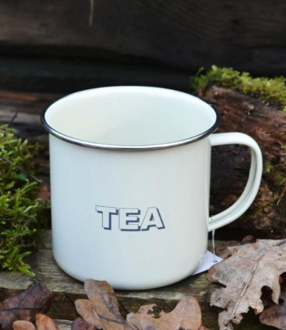 Trendy Vintage Shabby Chic Cream Tin Mug Tea