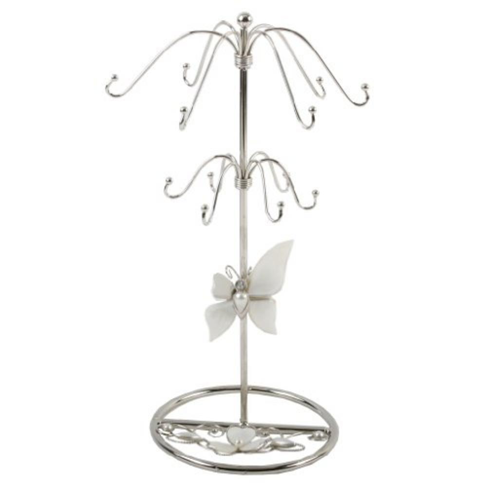 Juliana Glass & Wire Black Glass Butterfly - Mop Jewellery Holder