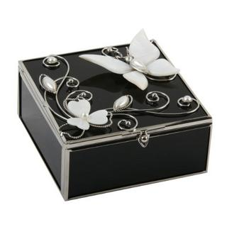 Juliana Glass & Wire Black Glass - Mop Square Trinket Box Thumbnail 1