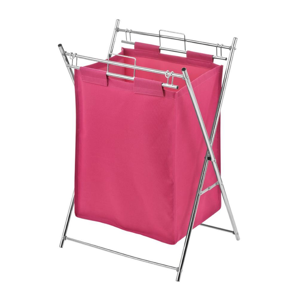 Premier Hot Pink Polyester Bedroom Dirty Clothes Laundry Bag Bin Chrome Frame
