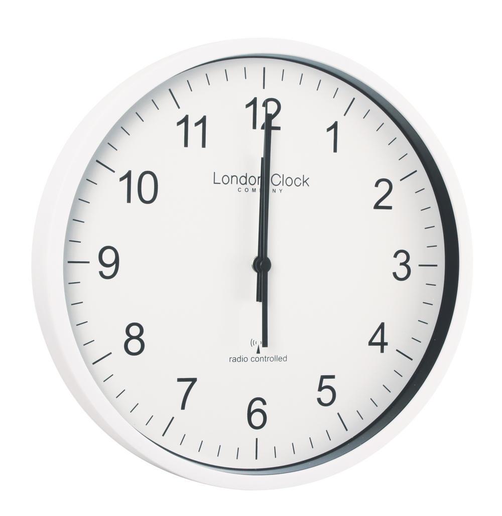 London Clock Company Radio Controlled White Msf Atomic Modern Simple Wall Clock