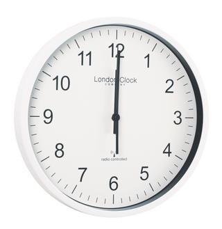 London Clock Company Radio Controlled White Msf Atomic Modern Simple Wall Clock Thumbnail 1