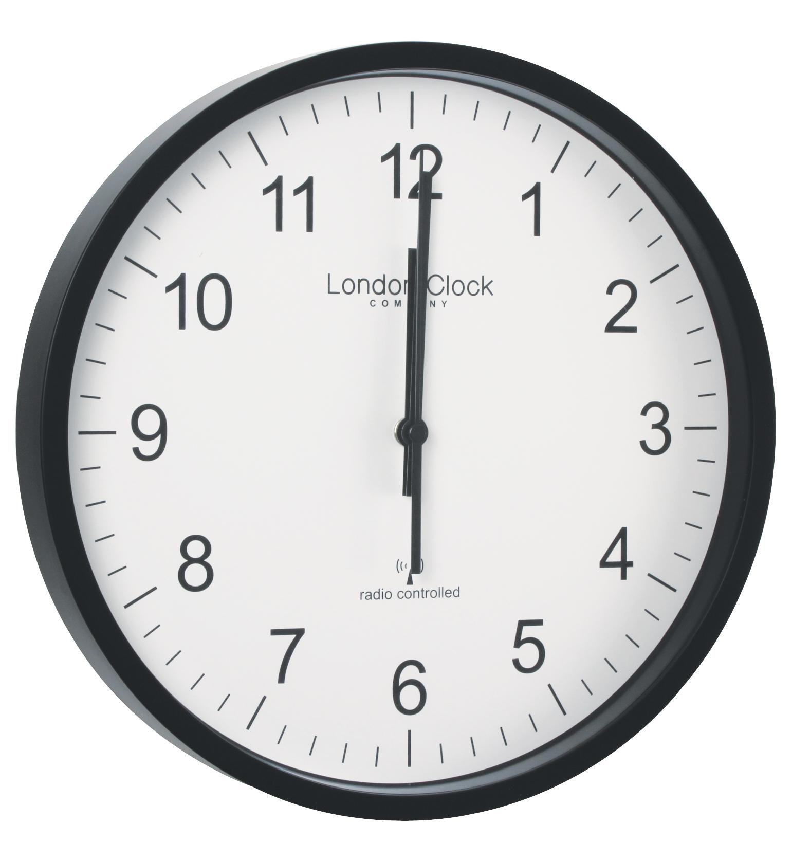 London Clock Company Radio Controlled Black Msf Atomic