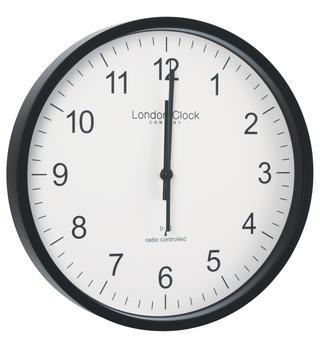 London Clock Company Radio Controlled Black Msf Atomic Modern Simple Wall Clock Thumbnail 1