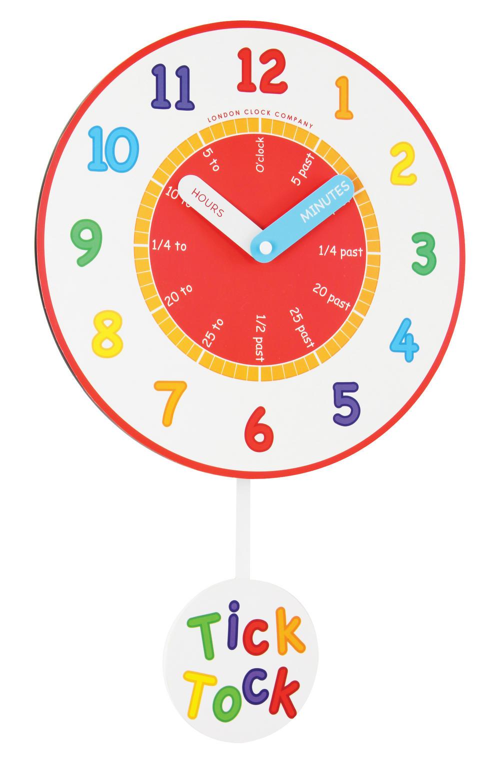 London Clock Company Kids Nursery Tell The Time Pendulum Wall Clock - 33Cm