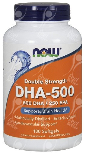 Now foods dha 500 double strength x180 softgels high for High dha fish oil