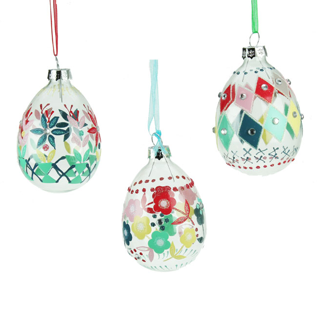 Set of 3 Glass Easter Eggs Decorations - Retro Check