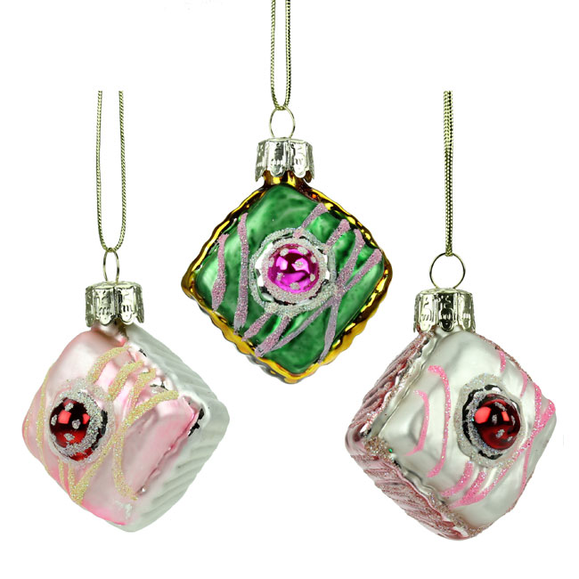 Set of Three Glass Cupcake Christmas Tree Decorations